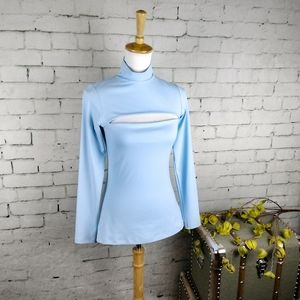 Susana Monaco Slash Cut Out Mock Neck Top Blue M